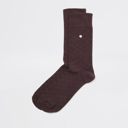 Dark red RI monogram socks