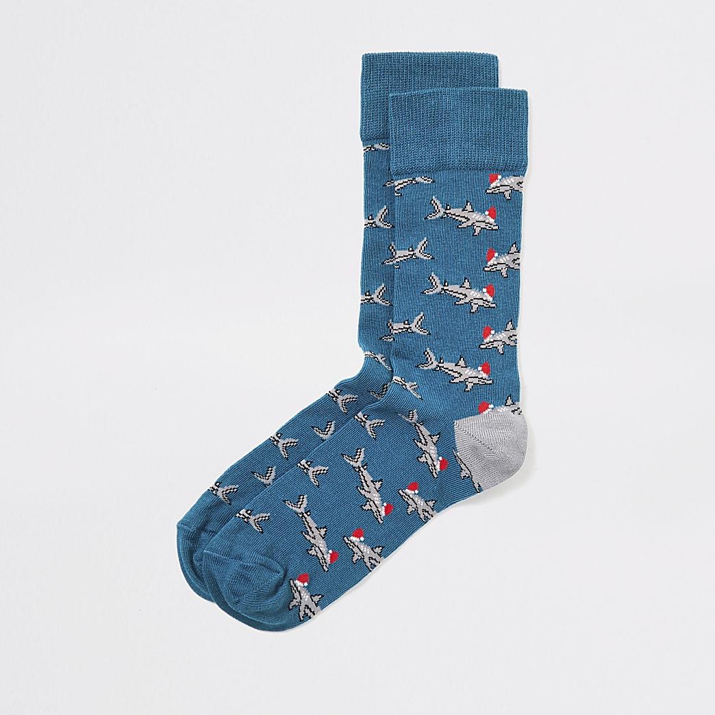 Blue shark print Christmas socks