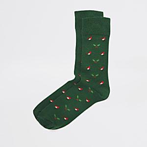 Chaussettes de Noëlvertes imprimérouge-gorge et gui
