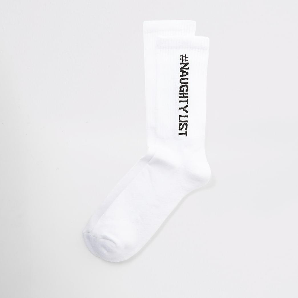 White #naughtylist Christmas socks