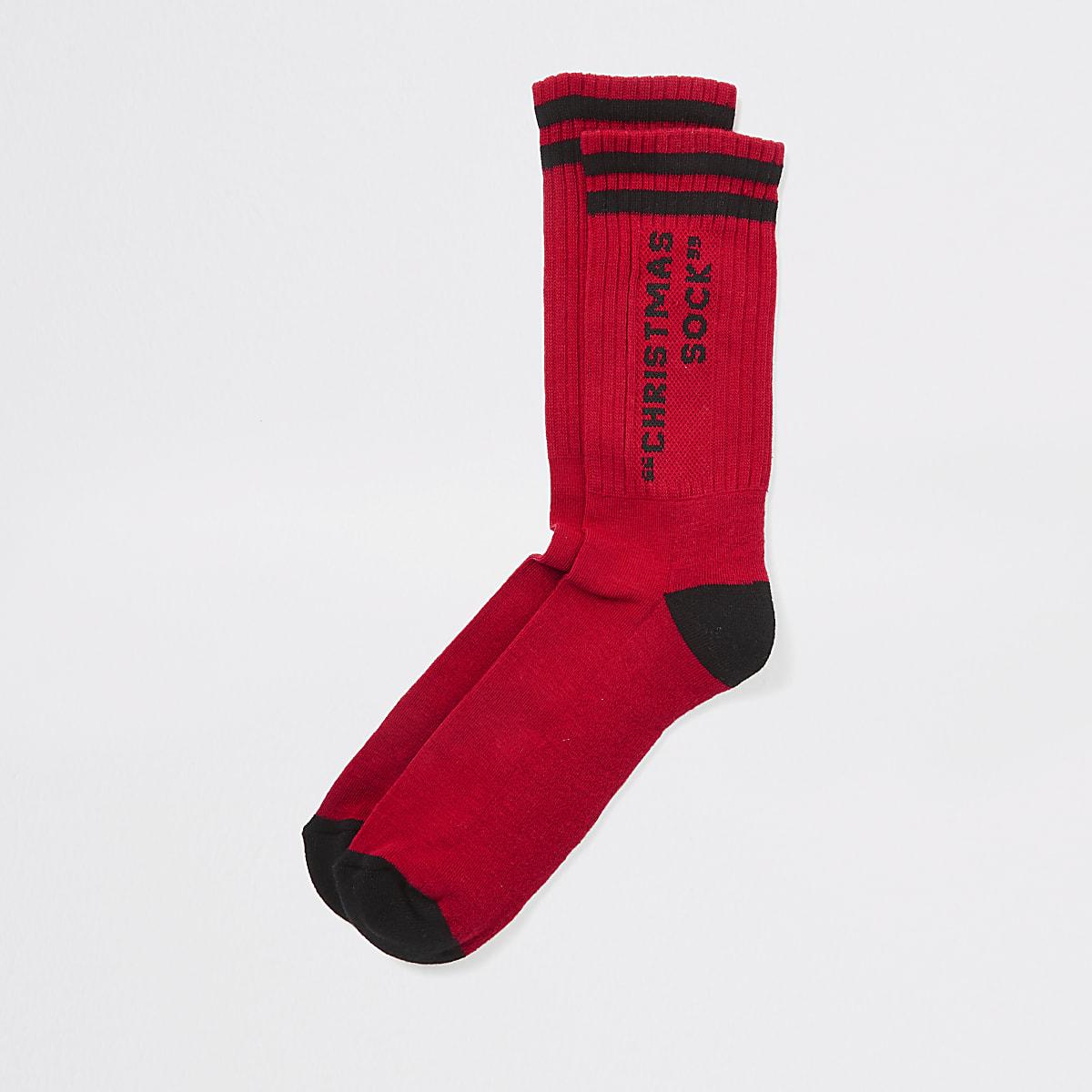 Rode 'Christmas sock'-print sokken