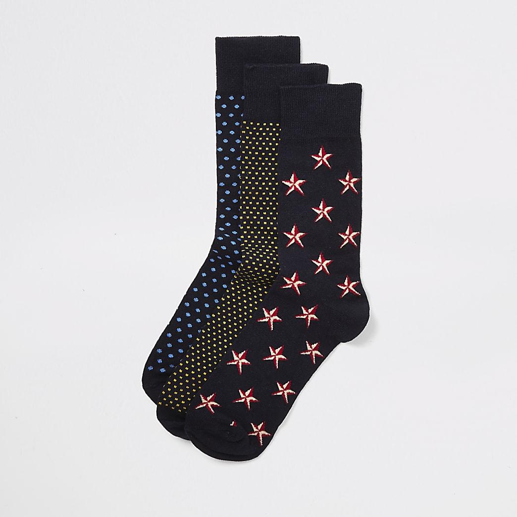 Lot de3 paires de chaussettes de Noël noires
