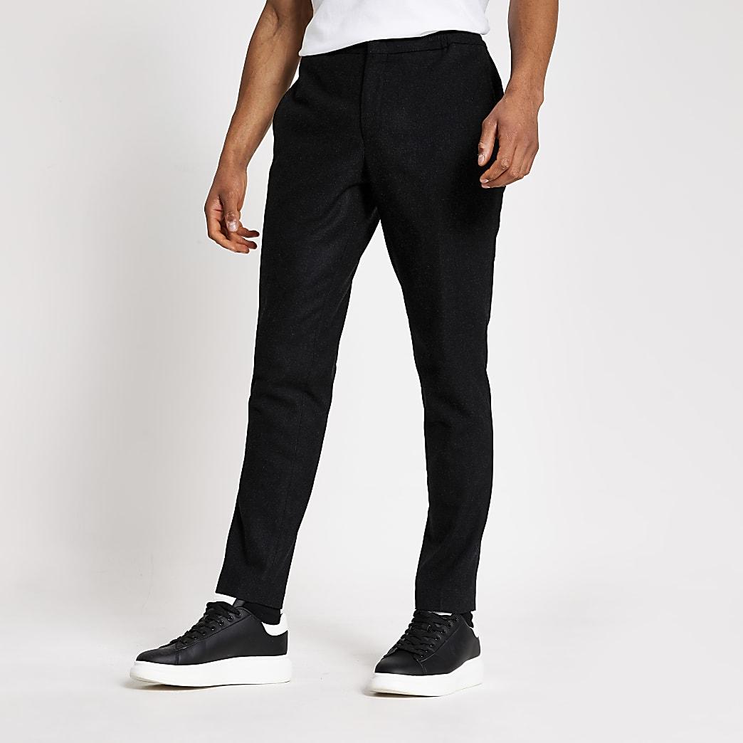 Selected Homme – Pantalon fuseléslim gris foncé