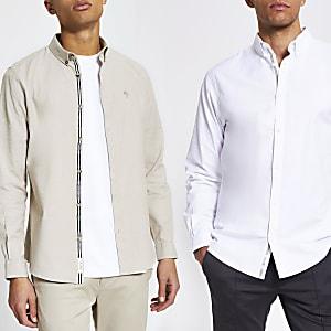 Maison Riviera - Set van 2 slim-fit Oxford overhemden