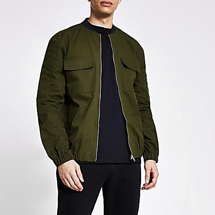 Khaki long sleeve ripstop bomber jacket