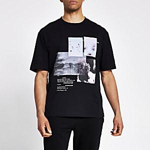 Schwarzes Boxy Fit T-Shirt mit Fotografie-Print