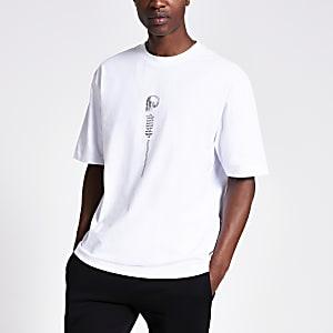 T-shirt blanc ample imprimé