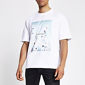 T-shirt ample en satin imprimé blanc