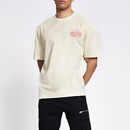 Light stone Japanese printed box fit T-shirt