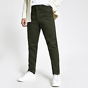 Selected Homme - Kaki smaltoelopende slim-fit broek