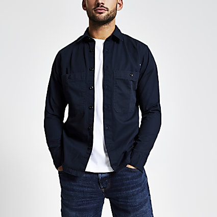 Selected Homme navy pocket front shirt