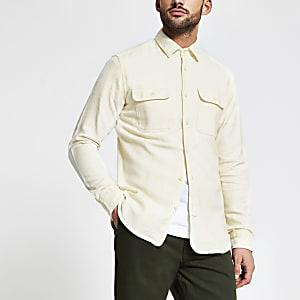 Selected Homme - Crèmekleurig overhemd met borstzakjes