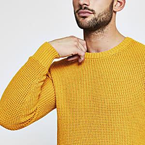 Selected Homme– Pull orange en maille