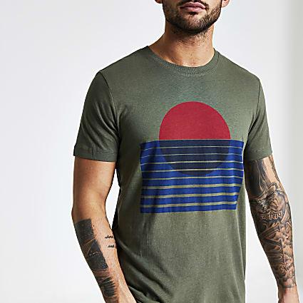 Selected Homme khaki printed T-shirt
