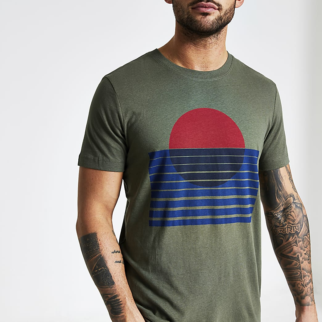 Selected Homme khaki printed T-shirt