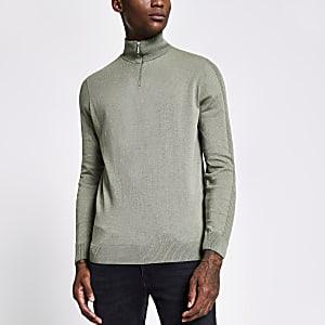 Pull slim vert en mailleàcol zippé
