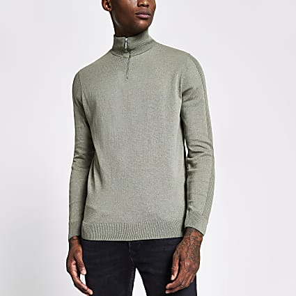 Green half zip slim fit knitted jumper