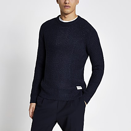 Jack and Jones blue knitted jumper