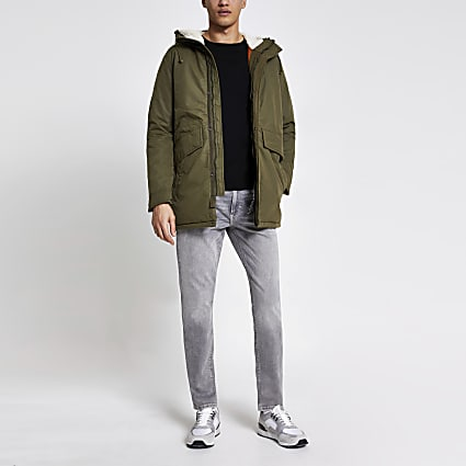 Jack and Jones khaki parka jacket