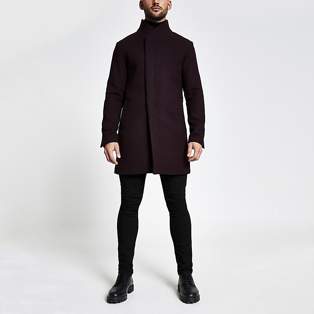 Jack and Jones burgundy wool coat