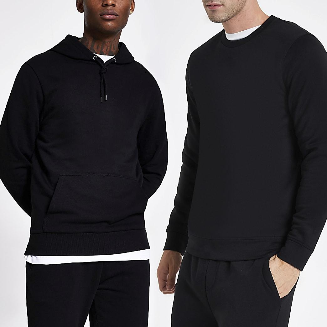 Black long sleeve hoodie and sweatshirt set
