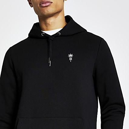 Black palm tree embroidered slim fit hoodie