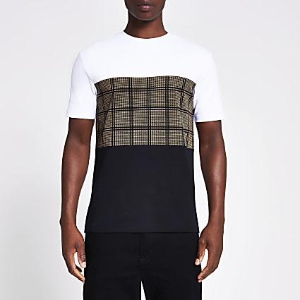 Black check blocked short sleeve T-shirt