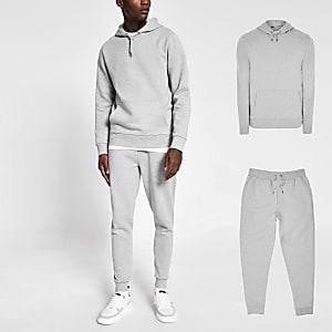 Grijze gemêleerde hoodie en joggingbroek outfit