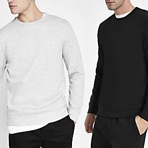 Langärmeliges Sweatshirt in Schwarz und Grau, 2er-Pack