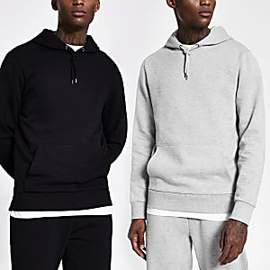 Lot de 2 sweats à capuche gris et noir