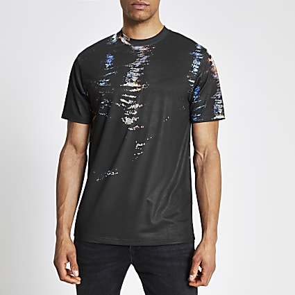 Black printed short sleeve slim fit T-shirt