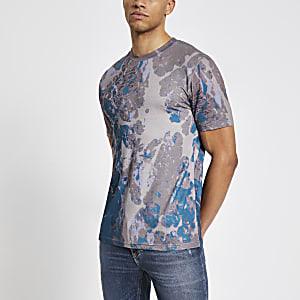 Donkerkiezelkleurig slim-fit T-shirt met marmer-print