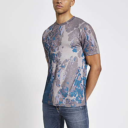 Dark stone marble printed slim fit T-shirt