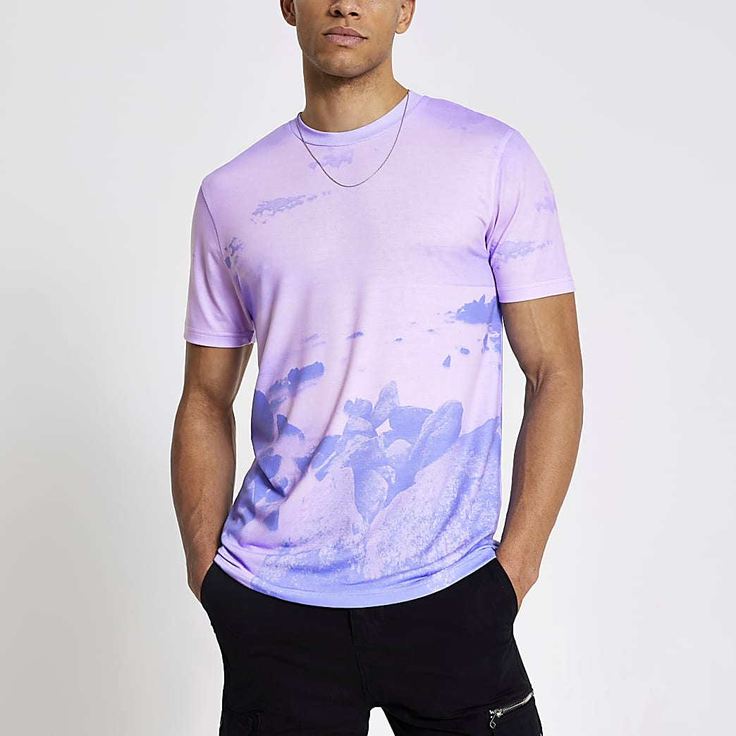 Pink sky printed slim fit T-shirt