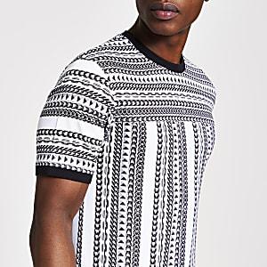 Wit slim-fit T-shirt met ketting-print