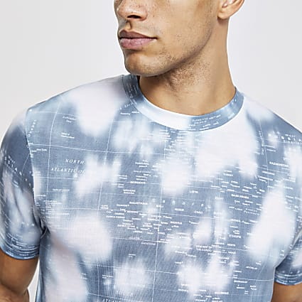 Blue printed slim fit T-shirt