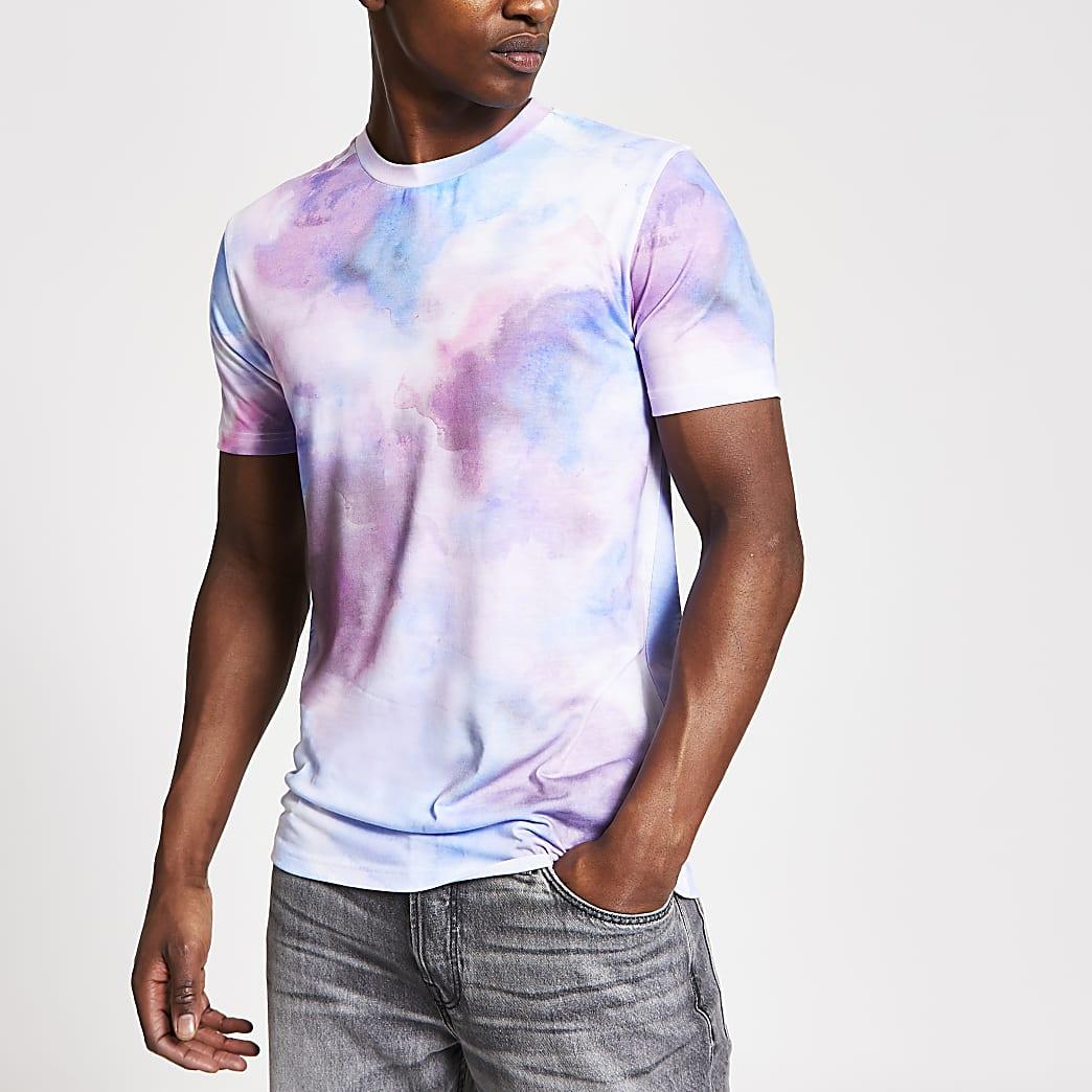 Pink blurred print slim fit T-shirt