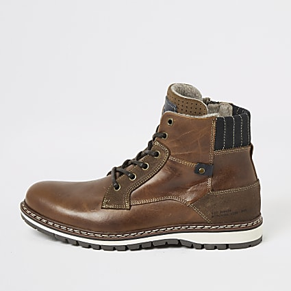 Brown leather lace-up military ankle boots