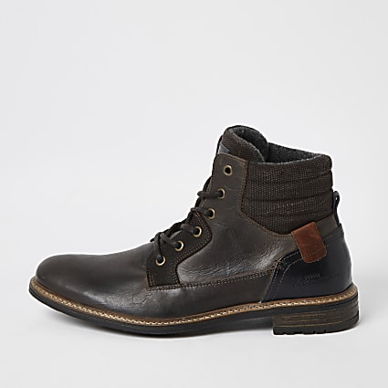 Dark brown leather lace-up ankle boots