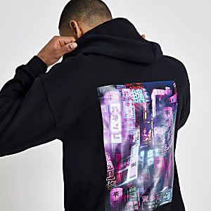 Black printed regular fit hoodie
