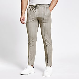 Pantalon de jogging skinnyhabilléà chevrons beige