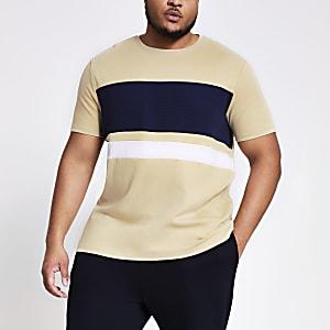 Big and Tall – Beiges T-Shirt in Blockfarben