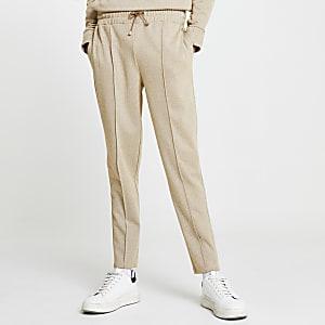 Pantalon de jogging slim à imprimé chevrons grège