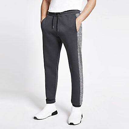 Grey check tape side slim fit joggers