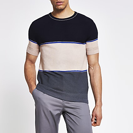Navy colour blocked slim fit knitted T-shirt