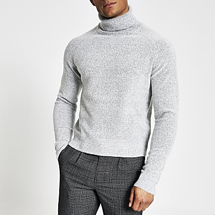 Grey roll neck boxy fit boucle knit jumper