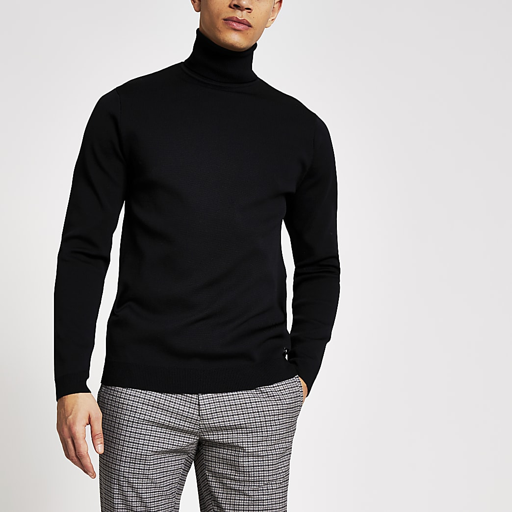 Maison black roll neck premium knit jumper