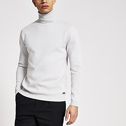 Maison grey roll neck premium knit jumper