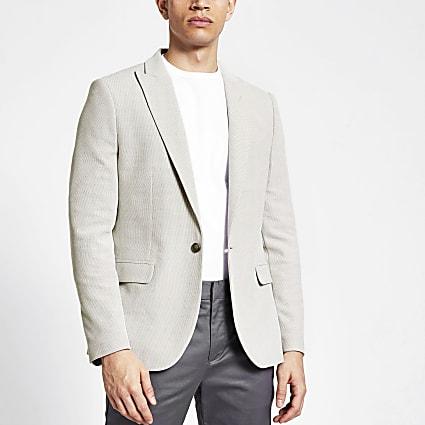 Stone textured skinny suit blazer