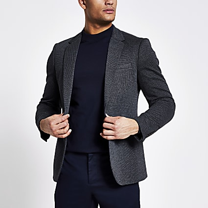 Navy textured skinny suit blazer